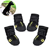 Petsoigné Dog Shoes Waterproof Dog Boots Anti-Skid with Reflective Strap Pet Winter Snow Boots Paws Protector for Small, Medium and Large Dogs (4#)