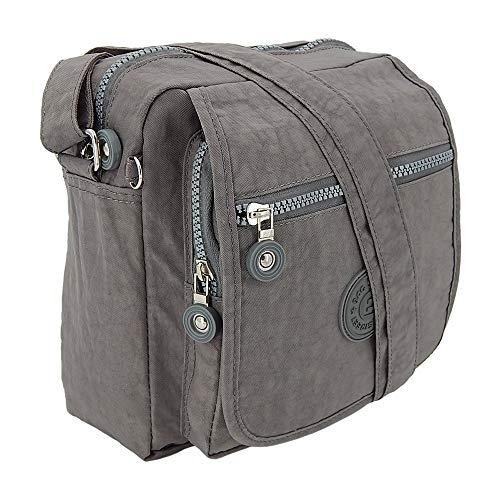 ekavale Kleine modische Damen-Handtasche Umhängetasche aus hochwertigem wasserabwesendem Crinkle Nylon (Grau)