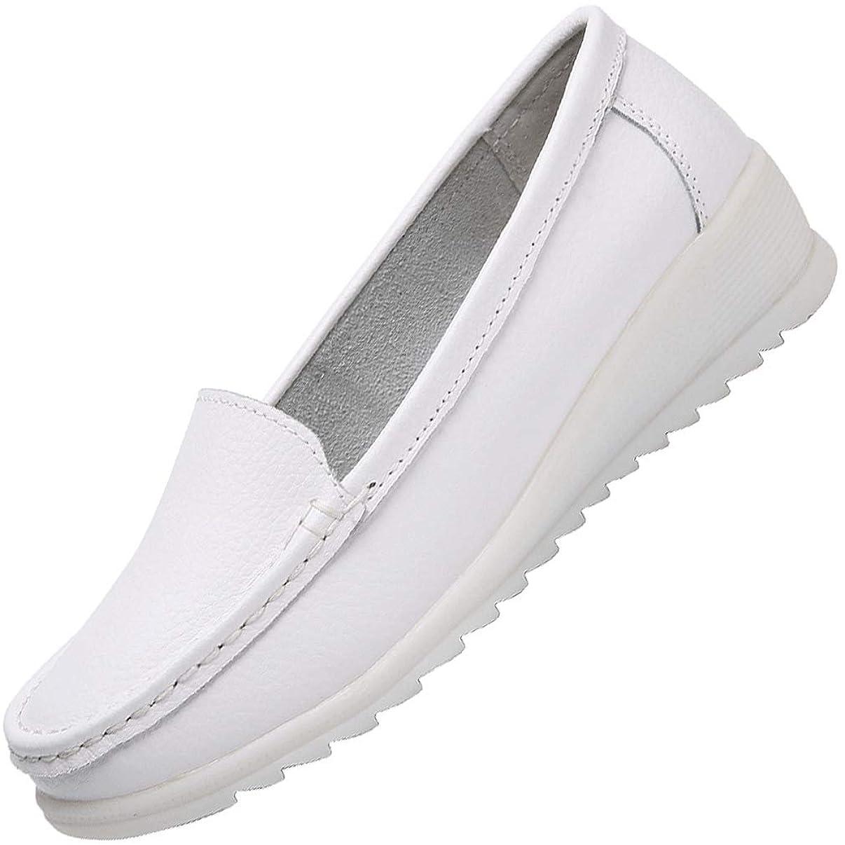 旋律的どうやってカタログ[ANDITTRO] ナースシューズ ウォーキングシューズ 作業靴 革 スニーカー 軽量 通気性 メッシュ ホワイト22.5CM-26.0CM