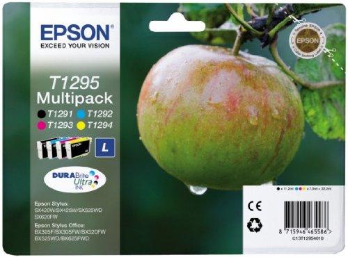 Epson Multipack T1295 4 Colores - Cartucho de Tinta para impresoras (Negro, Cian, Magenta, Amarillo, 32,2 ml, Inyección de Tinta) Si