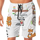 Shorts de Playa Cute Wild Animals Eating Food Icon Set Quick Dry Speed Drawstring Pantalones Cortos de Verano para Hombres, niños