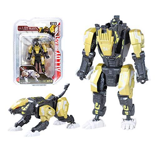 Sanggi Transformator Roboter, 2 Morphologische Transformationen Kinder Roboter Spielzeug, 16 Bewegliche Gelenke Verwandlung Legierungen Roboter, 10x5x4.5cm (Goldener Löwe)