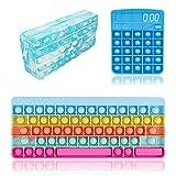 Juego de juguetes de burbujas Pop Pop, 3 piezas, calculadora de teclado, estuche de lápiz, forma de estrés, juguetes sensoriales (multicolor, 3, talla única)