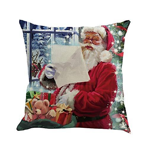 2000 Muster Weihnachten Zierkissenbezüge, Weich Leinen, WQW Weihnachtsmann/Weihnachtshirsch/Schneemann/Cartoon etc Home Deko Kissenbezug 45x45cm/Stil 1054
