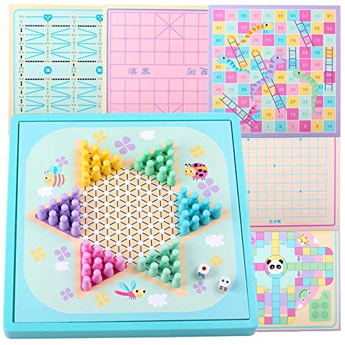 Checkers Flying Chess Children's Schaakbord Schaken Multifunctionele Jump Checkers Ouder-kind Backgammon Wooden Toys Bordspellen aijia ( Color : True Color , Size : Free size )
