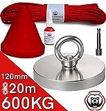 Brute Force Aimant magnétique 600 kg – Force d'adhérence en néodyme – Lot d'aimants à baies super puissants – Diamètre...
