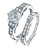 BONLAVIE Cubic Zirconia Solid Sterling Silver Engagment Wedding Band Rings Bridal Set for Women 9