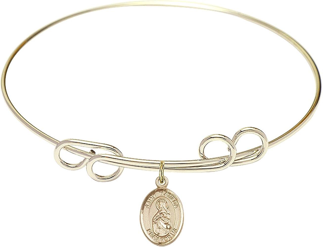 DiamondJewelryNY Double Loop Bangle Bracelet with a St. Matilda Charm.