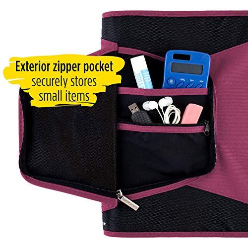 Five Star 1-1/2 Inch Zipper Binder, 3 Ring Binder, 3-Pocket Expanding File, Durable, Berry Pink/Purple (72532) Photo #5