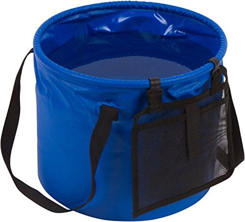 Trademark Innovations 4.2 Gallon Portable Collapsible Camping Water Container Bucket (Blue)
