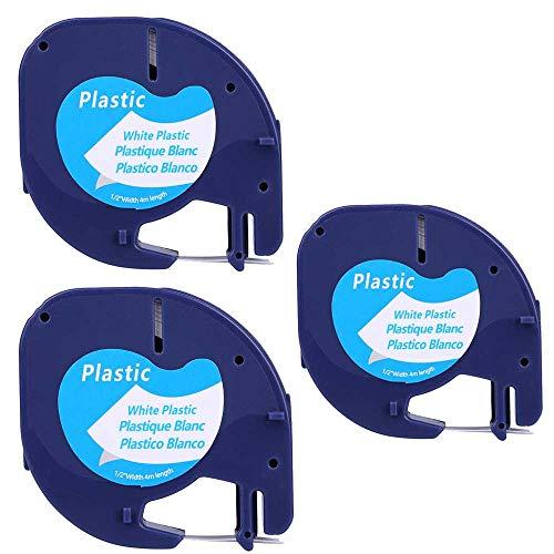 3XCompatible Dymo LetraTag 91201 Black on White (12mm x 4m) Plastic Label Tapes for Dymo LetraTag LT-100H, LT-100T, LT-110T, QX 50, XR, XM, 2000, Plus Label Makers