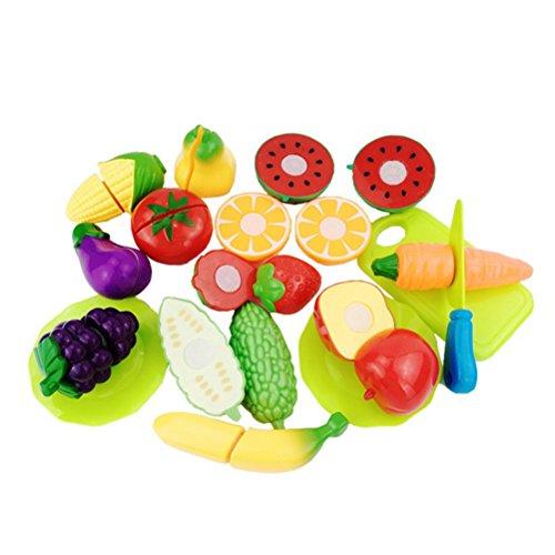 TOYMYTOY Cortar Frutas Verduras Juego de Plástico para Niños Juguetes Eeducativos Regalo de los cabritos 16 piezas