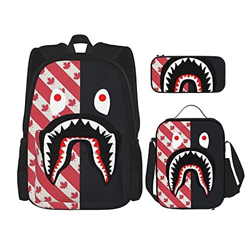 Mochila para estudiante, mochila clásica, bolsa de almuerzo, 1 bandera canadiense Bape Shark Mouth, Talla única