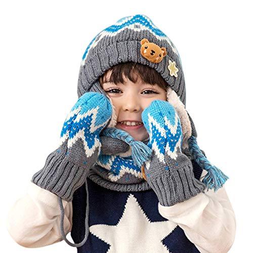 DORRISO Linda Niños Sombrero y Bufanda Guantes Otoño Invierno Primavera Gorro Bebe Calentar Pequeña Gorro Bufanda Guantes Conjunto Sombrero de Niño Azul A