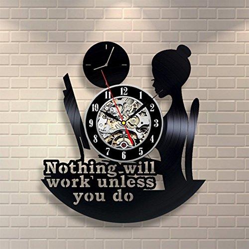 OOFAY Clock@ Wanduhr aus Vinyl Schallplattenuhr Upcycling Lesendes Mädchen Design-Uhr Wand-Deko Vintage Familien Zimmer Dekoration Kunst Geschenk Schwarz, Durchmesser 30 cm