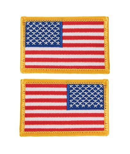 Rothco Aufnäher US-Fahne, 7,6 x 5,1 cm, Rot, Weiß, Blau mit goldfarbenem Rand (normale und Rückseite)