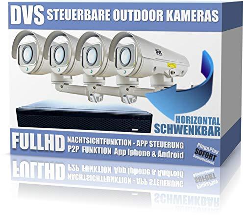 Steuerbare FullHD IP Kamera Videoüberwachung Set für Außenbereich - 2000GB Festplatte