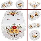Quinnyshop Papavero Girasole Ricamo Runner da tavolo Tovaglia diverse dimensioni Raso ottico, Bianco, Poliestere, bianco, Rond 30 cm