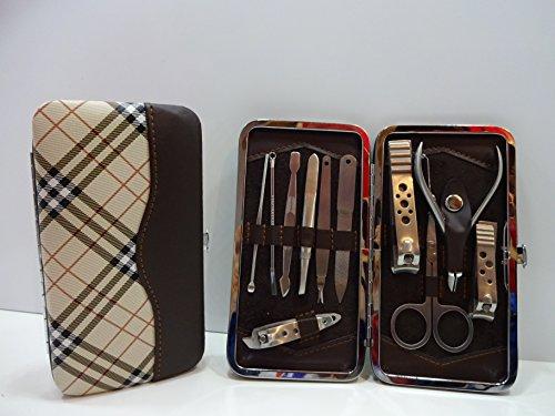 cyber Monday sale ~ 11pezzi in acciaio INOX per la cura personale manicure e pedicure set Travel & Grooming kit con lusso controllare e custodia in pelle