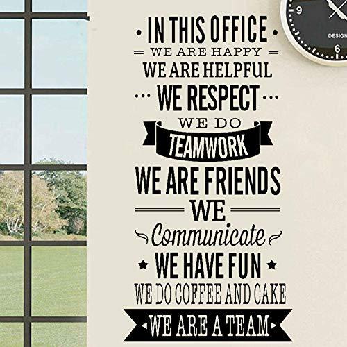 Büro Regeln Vinyl Wandtattoos Teamwork Zitat Dekor Aufkleber Erhöhen Sie den Zusammenhalt Mitarbeiter Beschriftung Wallpaper für Fenster 57x109cm Schwarzn084