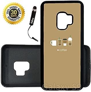 Custom Galaxy S9 Case (Coffee Cups Flat Minimal) Edge-to-Edge Rubber Black Cover Ultra Slim   Lightweight   Includes Stylus Pen by Innosub