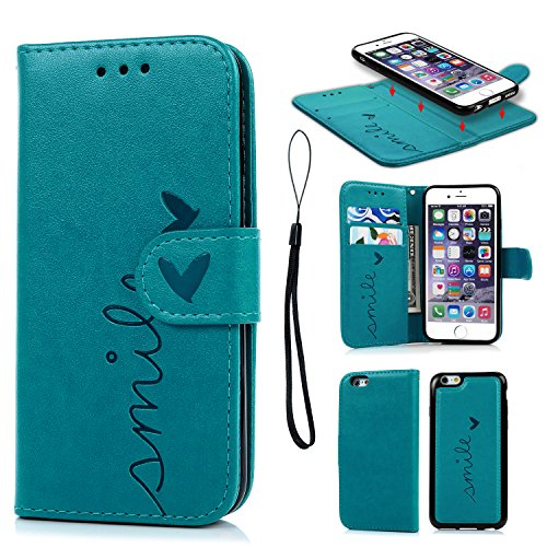 Geniric Handy Hülle für iPhone 6S 6 Leder Flip Wallet Cover Stand Case Card Slot Leder Tasche Karteneinschub TPU 2 in 1 Combo Karteneinschub Magnetverschluß Kratzfestes (Blau Liebe)
