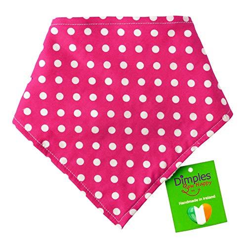 Dimples Hundehalstuch - Pink gepunktet/Punkte - Halstuch für kleine mittlere und Grosse Hunde Welpen und Katzen - Hunde Besitzer Geschenk - Handgemachtes Hunde Accessoire 25cm