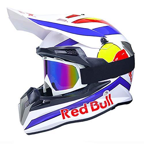 HZIH Casco Motocross,Casco de Cross Casco Integral Moto Protección Cabeza Cascos,ECE Homologado Off-Road Enduro Downhill Racing Casco ATV MTB BMX Cascos de Moto Red Bull A,M=55~56cm