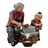 House Ayanxtions Statue、Creative Filial Age Man Sculpture、Mini Desktop Resin Crafts、手作りのキャラクターの置物、お父さん/お母さん/おじいちゃん/おばあちゃんへのギフト