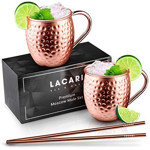 Lacari ®, set da Moscow Mule, L'originale fatto a mano, in 100% rame, con 2 tazze e 2 cannucce