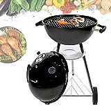 Barbecue a carbonella Compact Kettle, con coperchio rotondo da 47 cm, con posacenere rimovibile, smaltato nero con termometro, altezza: 94 cm, larghezza: 62 cm