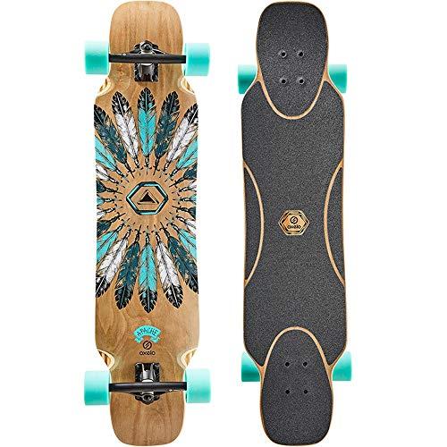 Axdwfd Longboard Skateboard, High-End Bambus Fiberglas Longboard Skateboard Erwachsene Jungen und Mädchen Pinsel Street Skills Dance Board Skateboard