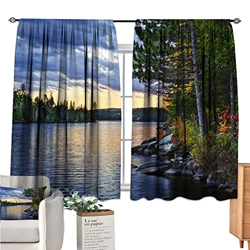 Iuvolux Kids Curtains Rod Pocket Curtains Dramatic Sunset and Pines at Lake of Two Rivers in Algonquin Park Ontario Canada soundproof Curtain 56x84-inch