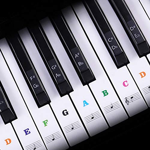 Piano Keyboard Stickers for 88/61/54/49/37 Key, Colorful Piano Keyboard Stickers Bigger Letter for Kids Learning Piano, Leaves No Residue, Transparent and Removable, Great Children's Gift