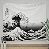 Ovenbird Wave Tapestry Black and White, the Great Wave off Kanagawa Wall Tapestry, Kawaii Japanese Tapestry Hippie Psychedelic Anime, Tapestry for Bedroom Aesthetic, 51' X 59'