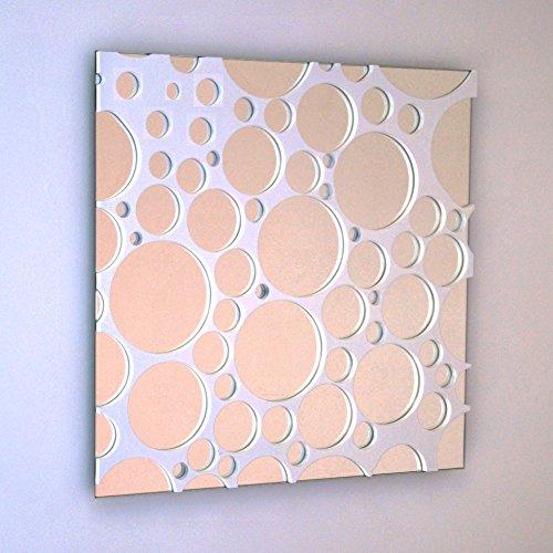 DECOHOGAR.SHOP Miroir Mural carré - Bulles Petit - 40 x 40 cm - Laqué Blanc