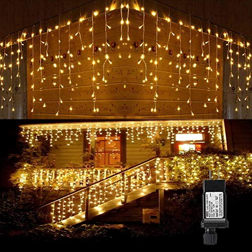 LED Icicle Lights Outdoor, 32.8ft 400 LED Icicle Christmas Lights with Timer, Memory Function, Waterproof, Connectable Eaves Curtain Fairy String Lights for Christmas, Thanksgiving, Easter