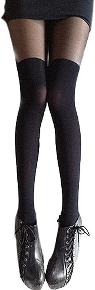 Yamalans Black Mixed Colors Gipsy Mock Ribbed Over the Knee Tights Thigh High Pantyhose