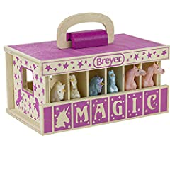 6 UNICORN SET: Breyer Farms Unicorn Magic Wooden Stable Carry Case is a high quality wood stable comes complete with 6 Stablemates Unicorns. Designed to be easy for small hands to carry, the wooden carry case makes the perfect take-along toy! PRODUCT...