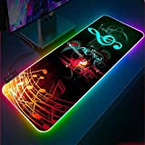 Musical Note Gaming Mouse Pad RGB Locking Edge Mouse mat PC Computer Laptop LED Backlit Keyboard Pad CS GO Gamer XXL-19.69'x39.37'