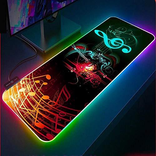 Alfombrilla de ratón para Juegos RGB con símbolo Musical Colorido,Alfombrilla con 14 Modos de iluminación,Alfombrilla de Mouse para computadora Alfombrilla de Mouse para Teclado (900×400×4mm)
