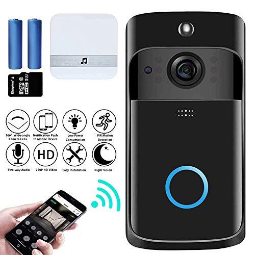 M-TOP video-intercom, deurbel met camera, wifi, video, deurintercom, draadloze 720p, HD doorbell, camera met bewegingsmelder, 2-weg audio, nachtzicht, intercom, videoBlack-A