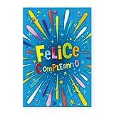 Biglietto Auguri Compleanno Felice (colori fluo) (Ciano)