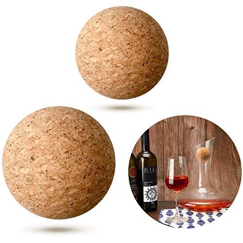 2 Stück Wein Kork Kugel Holz Kork Kugel Stopper für Wein Karaffe Dekanterflasche Ersatz, 2,4 Zoll/ 2 Zoll