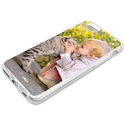 PixiPrints Premium Handyhülle selbst gestalten mit eigenem Foto und Text * Bild Schutzhülle, Hüllentyp: Slim-Silikon/Transparent, Kompatibel mit Apple iPhone 5 / 5S / SE