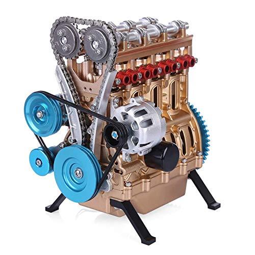 LUCKFY Full Metal Maschine Modell - Zerlegt Desk Motor - 4 Zylinder Inline Auto Motor Modell Baukastens Mini DIY Motor Modell Spielzeug für Erwachsene