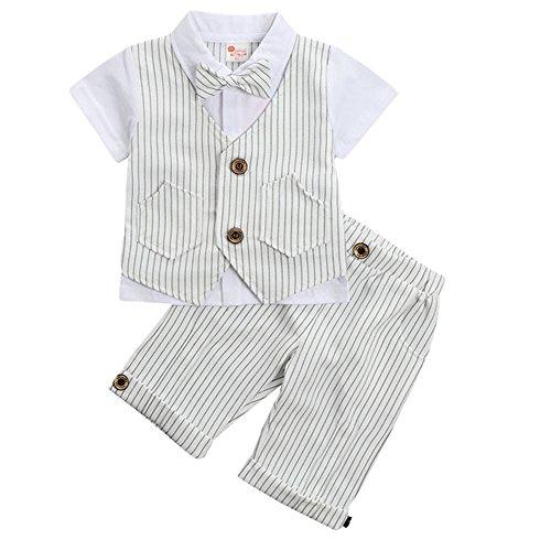 G-Kids Baby Jungen 2-Teiliges Strampler Smoking Gentleman Anzug Kurzarm Streifen Outfits Sommer Kleidung Jumpsuit Spielanzug Taufkleidung mitFliege (Weiß, 90/1-2 Jahre)