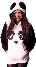 INDIRAGE Panda Hoodie Cotton All Season Wear with Fur Ears for Girls.