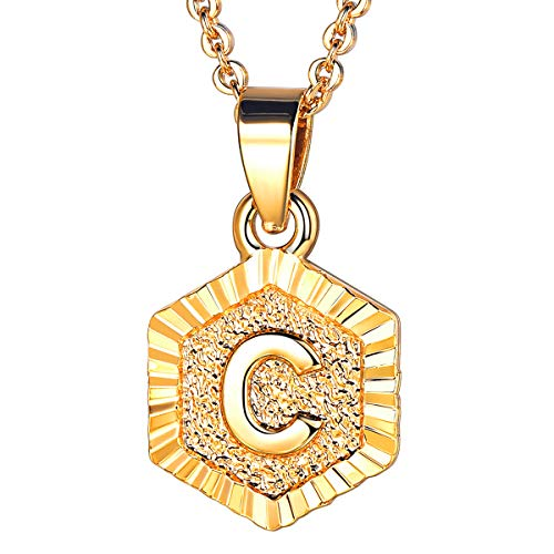 FOCALOOK Jewelry Initial Hexagon Necklace 20 Inch Adjustable Gold Letter Chain for Layering (Gold-C)