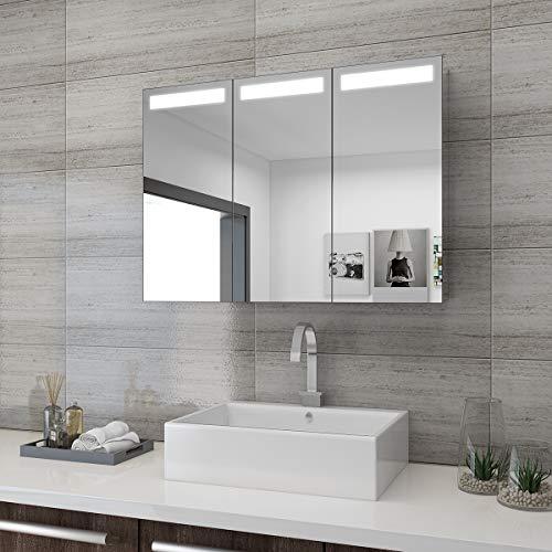 SONNI Spiegelschrank Bad 65 x 90 cm Spiegelschrank Bad mit Beleuchtung und Steckdose Badezimmer Spiegelschrank 3 türig LED Spiegelschrank mit Infrarot-Schalter